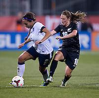 Sydney Leroux, Annalie Longo. The USWNT tied New Zealand, 1-1, at an international friendly at Crew Stadium in Columbus, OH.