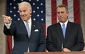 Speaker of the United States House John Boehner (Republican of Ohio), right, and Vice President Joe Biden before U.S. President Barack Obama's State of the Union address in front of a joint session of Congress on Tuesday, January 24, 2012 at the US Capitol in Washington, DC. .Credit: Saul Loeb / Pool via CNP