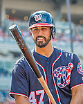 11 September 2016: Washington Nationals starting pitcher Gio Gonzalez checks his bat on deck during a game against the Philadelphia Phillies at Nationals Park in Washington, DC. The Nationals edged out the Phillies 3-2 to take the rubber match of their 3-game series. Mandatory Credit: Ed Wolfstein Photo *** RAW (NEF) Image File Available ***