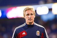 Goalkeeper Tim Melia (28) of CD Chivas USA. The New York Red Bulls and CD Chivas USA played to a 1-1 tie during a Major League Soccer (MLS) match at Red Bull Arena in Harrison, NJ, on May 23, 2012.