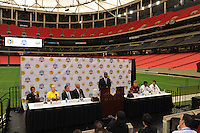 Atlanta Mayor Kasim Reed addresses the assembled media in the Georgia Dome. The press conference for the 2010 Atlanta International Soccer Challenge was held, Tuesday, July 27, at the Georgia Dome, a day in advance of the match between Club America and Manchester City.