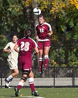 Florida State forward/defender Breezy Hupp (12) heads the ball. Florida State University defeated Boston College, 1-0, at Newton Soccer Field, Newton, MA on October 31, 2010.