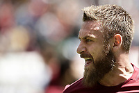 Calcio, Serie A: Roma, stadio Olimpico, 30 aprile 2017.<br /> AS Roma's Daniele De Rossi celebrates after scoring during the Italian Serie A football match between AS Roma an Lazio at Rome's Olympic stadium, April 30 2017.<br /> UPDATE IMAGES PRESS/Isabella Bonotto
