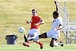 10 November 2010: Clemson's Tommy Drake (9) and Maryland's Ethan White (4). The University of Maryland Terrapins defeated the Clemson University Tigers 2-1 at Koka Booth Stadium at WakeMed Soccer Park in Cary, North Carolina in an ACC Men's Soccer Tournament Quarterfinal game.