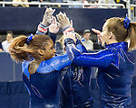 The University of Michigan women's gymnastics team beat Iowa, 196.675-195.200, at Crisler Center in Ann Arbor, Mich., on February 2, 2013.