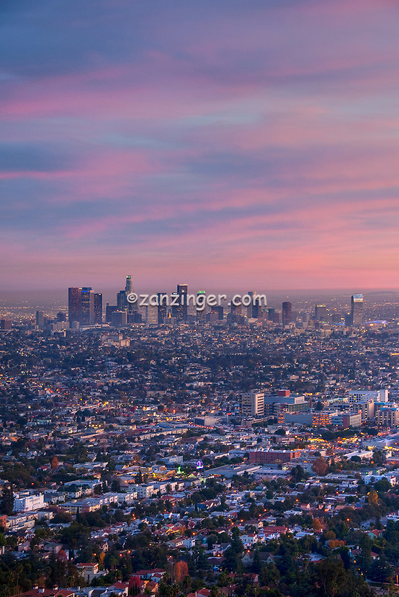 Los Angeles, CA, Cityscape, L.A. Skyline, Fiery, Sunset, Night, Dusk, lit, lights on, beautiful, View, Clear, No people, Calif. California