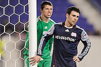 Nico Colaluca (26) of the New England Revolution guards the near post on a New York Red Bulls corner kick. The New York Red Bulls defeated the New England Revolution 3-0 during a U. S. Open Cup qualifier round match at Red Bull Arena in Harrison, NJ, on May 12, 2010.