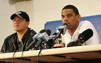 Terrelle Pryor #2 of the Ohio State Buckeyes speaks while sitting next to his mother Tony Pryor, during a press conference on National Signing Day on February 6, 2008 at Jeannette High School in Jeannette, Pennsylvania. Pryor announced he would wait to make his college decision, which turned out to be Ohio State.