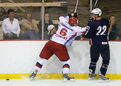 Anton Klementyev (Russia - 6), Derek Stepan (US - 22) - Team USA defeated Team Russia 6-0 in their final game during the 2009 USA Hockey National Junior Evaluation Camp on Saturday, August 15, 2009, in the USA (NHL-sized) Rink in Lake Placid, New York.