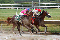 10 July 2010:  Blind Luck (left), Joel Rosario up, and Havre de Grace, Jeremy Rose up, race to the wire in the Delaware Oaks at Delaware Park. Blind Luck won by a nose over Havre de Grace.