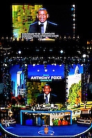 Mayor of Charlotte Anthony R. Foxx speaks on stage during day one of the Democratic National Convention at Time Warner Cable Arena .