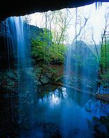 Waterfall through natural bridge, Buffalo National River, Arkansas, Buffalo River, Buffalo Wilderness, Afternoon, Ozark Wilderness, April, 4SvIC