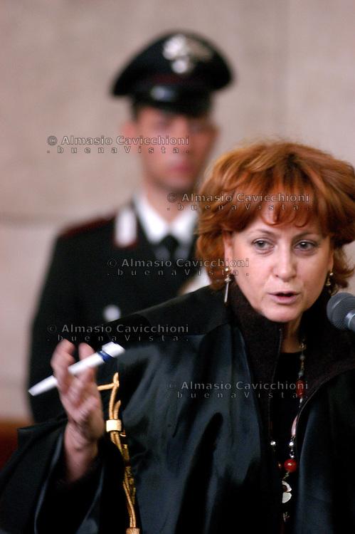 11 FEB 2003  Milano: processo IMI - SIR- Lodo Mondadori, Ilda Boccassini pubblico ministero.<br />  Ilda Boccassin prosecutor