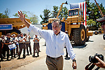 GOP presidential candidate Gov. Mitt Romney leaves a campaign rally at Carter Machinery Company in Salem, Virginia, June 26, 2012.