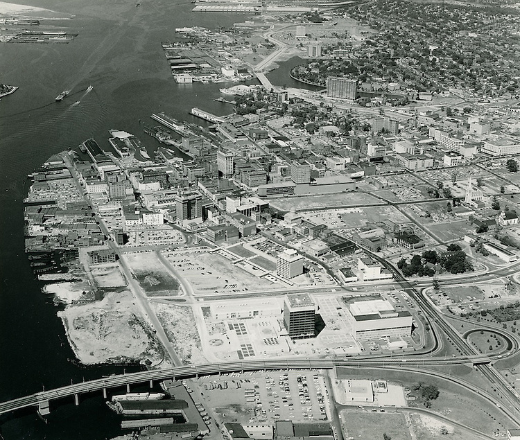 1964 September 25..Redevelopment..Downtown South (R-9)..Looking West at Civic Complex and Downtown..Abourjilie.NEG#.NRHA# 3136..