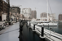 Qatar - Doha - The Pearl's Marina. The Peal has the most exclusive stores of town, including, Giorgio Armani and Hermes.