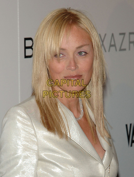 SHARON STONE.At The opening party for the BCBG Max Azria flagship store, Rodeo Drive,.Beverly Hills, 18th August 2005.portrait headshot white shiney shimmer suit jacket necklace  .www.capitalpictures.com.sales@capitalpictures.com.© Capital Pictures.