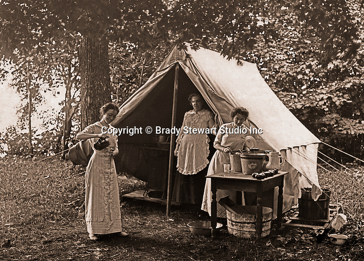 Erie PA: Sarah Mathews Stewart, her mother, sister and friends camping on Lake Erie - 1915