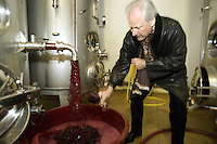 "Switzerland. Canton Ticino. Ligornetto. Luigi Zanini. Wine grower and producer. Owner of the firm ""Vinattieri Ticinesi"" . Coming out of the inox fermenting tuns, the last harvested grapes produce a 2007 red Merlot wine which needs to be oxygenated. Luigi Zanini is tasting a 2007 Merlot red wine. Wineglass. © 2008 Didier Ruef"