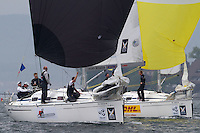 Ian Williams leads Torvar Mirsky during day 2 of Match Race Germany. World Match Racing Tour. Langenargen, Germany. 21 May 2010.