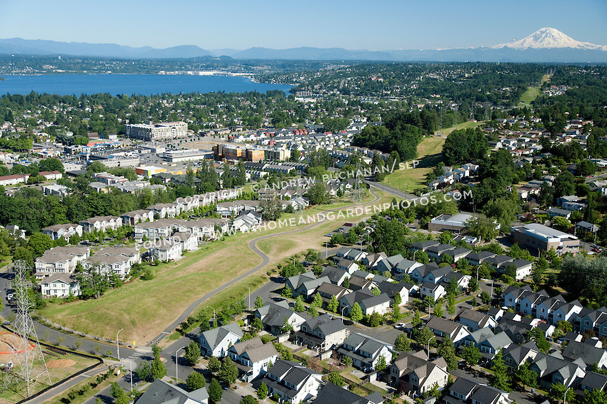 New Holly / Holly Park; Seattle, WA; An aerial view of New Holly, a mixed housing development, with open green space and Mt. Rainier and Lake Washington in the background.