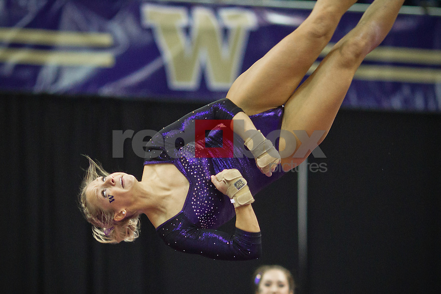 Paige Bixler...Washington Huskies gymnastics vs. the UCLA Bruins at Alaska Airlines Arena at Hec Edmundson Pavilion in Seattle on Friday, January 27, 2012. (Photo by Dan DeLong/Red Box Pictures)