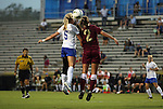 15 September 2011: Duke's Kaitlyn Kerr (5) and Charleston's Hope Atkinson (2) challenge for a header. The Duke University Blue Devils defeated the College of Charleston Cougars 3-0 at Koskinen Stadium in Durham, North Carolina in an NCAA Division I Women's Soccer game.