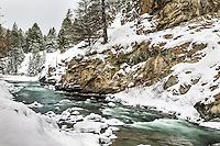 The Gallatin River under a fresh blanket of snow.  Big Sky Montana.