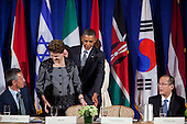 United States President Barack Obama, left, and President Dilma Rousseff of Brazil, second left, arrive for a meeting of the Open Government Partnership, a global effort to make governments better at the Waldorf-Astoria in New York, New York on Tuesday, September 20, 2011.  From left to right: Jens Stoltenberg, Prime Minister of Norway; President Dilma Rousseff of Brazil; President Barack Obama; and President Benigno S. Aquino III of Philippines..Credit: Allan Tannenbaum / Pool via CNP