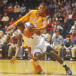 Ole Miss forward Terrance Henry (1) has the ball knocked away by Tennessee's Tobias Harris (12) at the C.M. &quot;Tad&quot; Smith Coliseum in Oxford, Miss. on Satursday, January 29, 2011.  (AP Photo/Oxford Eagle, Bruce Newman)