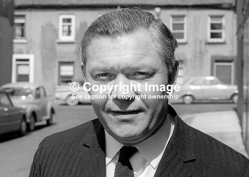 Harold Black, director, Black &amp; Company (Newtownards) Limited, chairman, Ards Football Club, Newtownards, Co Down, N Ireland, UK, April 1970. 197004000129<br /> <br /> Copyright Image from<br /> Victor Patterson<br /> 54 Dorchester Park<br /> Belfast, N Ireland, UK, <br /> BT9 6RJ<br /> <br /> t1: +44 28 90661296<br /> t2: +44 28 90022446<br /> m: +44 7802 353836<br /> e1: victorpatterson@me.com<br /> e2: victorpatterson@gmail.com<br /> <br /> www.victorpatterson.com