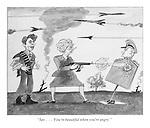 """""""Say...You're beautiful when you're angry."""" (a 1980s cartoon from Punch shows President Ronald Reagan on battle training as Prime Minister Margaret Thatcher shoots a machine gun at a target of a Soviet leader Yuri Andropov and nuclear rockets fly overhead)"""