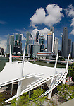Singapore Esplanade Waterfront Theater with skyline in background