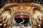 WATERBURY,  CT-122216JS01--Workers from A. Secondino &amp; Sone, Inc. of Branford, continue making access holes in the ceiling inside the Palace Theater in Waterbury on Thursday. The holes will be used as access to affix rigging onto steel beams to accommodate theater sets for next fall's production of &quot;Phantom of the Opera&quot; as well as other productions in the future. <br />  Jim Shannon Republican American