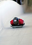 12 December 2006: Paul Boehm, from Canada, slides down a straightaway during a training run in preparation for the World Cup Skeleton Competition at the Olympic Sports Complex on Mount Van Hoevenburg  in Lake Placid, New York, USA.&amp;#xA;&amp;#xA;Mandatory Photo credit: Ed Wolfstein Photo<br />