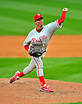 13 April 2009: Philadelphia Phillies' pitcher Jamie Moyer on the mound against the Washington Nationals during the Nationals' Home Opener at Nationals Park in Washington, DC. The Nats fell short in their 9th inning rally, losing 9-8, as the visiting Phillies handed the Nats their 7th consecutive loss of the 2009 season. Mandatory Credit: Ed Wolfstein Photo