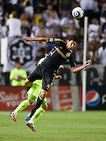 CARSON, CA – July 4, 2011: LA Galaxy defender Omar Gonzalez (4) during the match between LA Galaxy and Seattle Sounders FC at the Home Depot Center in Carson, California. Final score LA Galaxy 0, Seattle Sounders FC 0.