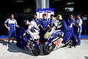 February 4, 2010 - Kuala Lampur, Malaysia - Fiat Yamaha Team Spanish rider Jorge Lorenzo (L) and Italian rider Valentino Rossi disclose to photographers their new motoGP motorbikes at Sepang International Circuit on February 4, 2010. (Photo Andrew Northcott/Nippon News)