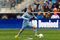 Oriol Rosell (20) of Sporting Kansas City. Sporting Kansas City defeated the Philadelphia Union 3-1 during a Major League Soccer (MLS) match at PPL Park in Chester, PA, on March 2, 2013.