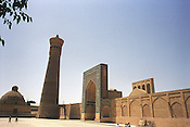 The 16th century Kalan Mosque, and the Kalan Minaret built in 1127 by Arslan Khan, in the Old Silk Road city of Bukhara, Uzbekistan