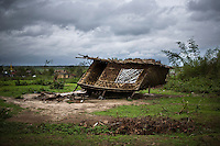 The village of Kyauktan Yelapaye, devastated by Cyclone Nargis which hit the Irrawaddy Delta on 02/05/2008. No help reached the villagers for days.