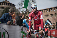 former winner Alexander Kristoff (NOR/Katusha) on his way to the race start in Milano for the 108th Milano - Sanremo 2017