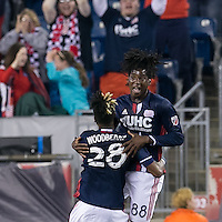 Foxborough, Massachusetts - May 14, 2016: In a Major League Soccer (MLS) match, the New England Revolution (blue/white) defeated Chicago Fire (red), 2-0, at Gillette Stadium.<br /> Goal celebration.