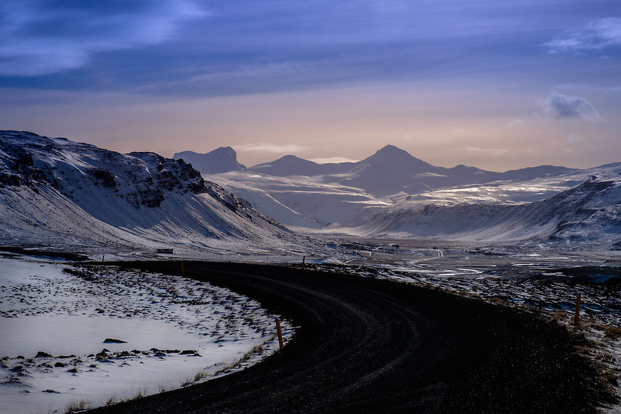 ICELAND - CIRCA MARCH 2015: Route 1 over the Snaefellsness Peninsula in Iceland.