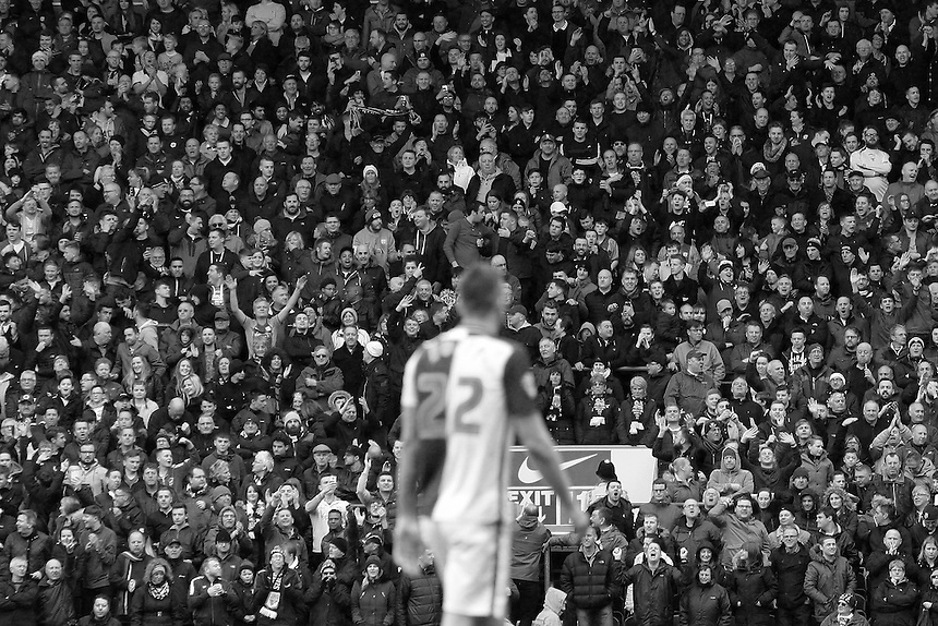 Blackburn Rovers' Shane Duffy is taunted by the Preston North End fans after being sent off<br /> <br /> Photographer David shipman/CameraSport<br /> <br /> Football - The Football League Sky Bet Championship - Blackburn Rovers v Preston North End - Saturday 2nd April 2016 - Ewood Park - Blackburn<br /> <br /> &copy; CameraSport - 43 Linden Ave. Countesthorpe. Leicester. England. LE8 5PG - Tel: +44 (0) 116 277 4147 - admin@camerasport.com - www.camerasport.com