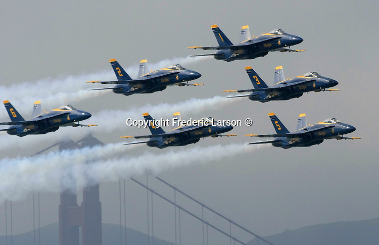 The Blue Angels arrived with a flourish this morning, wowing dozens of spectators who gathered to watch the spectacle in advance of Fleet Week in the San Francisco Bay Area, California.
