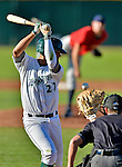 8 July 2012: State College Spikes infielder Wilfredo Solano is brushed back by a State College Spikes pitch at Centennial Field in Burlington, Vermont. The Spikes fell to the Lake Monsters 8-2 in NY Penn League action. Mandatory Credit: Ed Wolfstein Photo