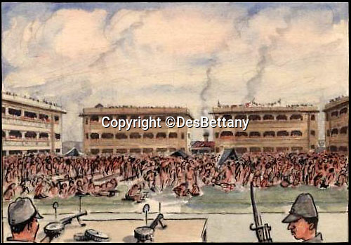 BNPS.co.uk (01202 558833)<br /> Pic: DesBettany/BNPS<br /> <br /> ***Please Use Full Byline***<br /> <br /> Bettany's depiction of the Selarang square incident in 1942. Thousands of PoW's were forced to stand for five days in protest at refusing to sign a pledge not to escape. <br /> <br /> The family of a Prisoner of War who drew for his captured comrades are being inundated with his lost art work 70 years later after issuing an appeal to find it.<br /> <br /> Nearly 60 poignant paintings by the late Des Bettany have been found by the relatives of those who he served alongside in World War Two.<br /> <br /> The talented artist-turned-soldier spent three years in a Japanese PoW camp and created amusing cartoons which he often gave away to help keep up the morale of the men.<br /> <br /> His son Keith, 62, launched a website to help uncover his father's artistic legacy and has been astonished by the response from the families of PoWs around the world.