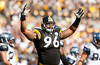 PITTSBURGH - SEPTEMBER 18:  Ziggy Hood #96 of the Pittsburgh Steelers celebrates in the second half against the Seattle Seahawks during the game on September 18, 2011 at Heinz Field in Pittsburgh, Pennsylvania.  (Photo by Jared Wickerham/Getty Images)