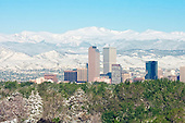 Denver AM skyline and Rocky Mountian front range after new late sping snow storm, Colorado
